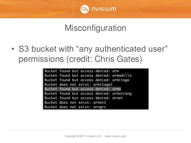"""Copyright © 2017 nVisium LLC · www.nvisium.com Misconfiguration • S3 bucket with """"any authenticated user"""" permissions (cre..."""
