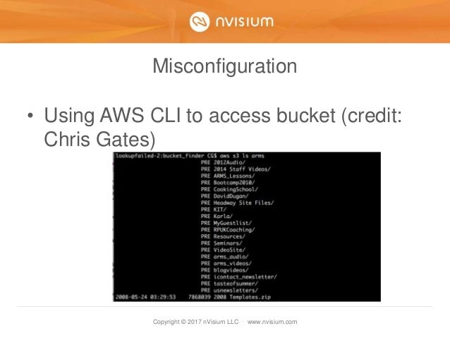 Copyright © 2017 nVisium LLC · www.nvisium.com Misconfiguration • Using AWS CLI to access bucket (credit: Chris Gates)
