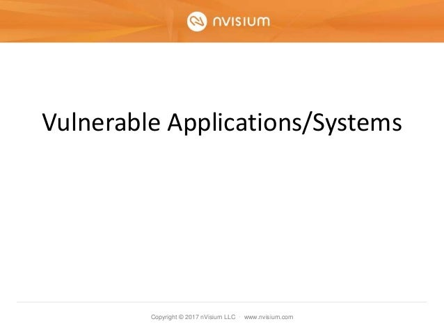 Copyright © 2017 nVisium LLC · www.nvisium.com Vulnerable Applications/Systems
