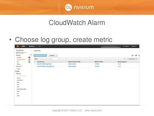 Copyright © 2017 nVisium LLC · www.nvisium.com CloudWatch Alarm • Choose log group, create metric