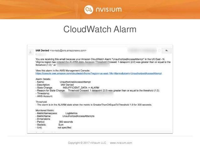 Copyright © 2017 nVisium LLC · www.nvisium.com CloudWatch Alarm