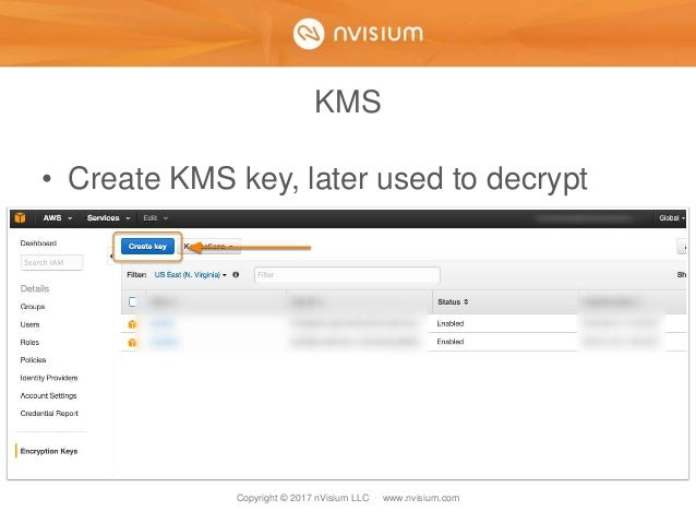 Copyright © 2017 nVisium LLC · www.nvisium.com KMS • Create KMS key, later used to decrypt