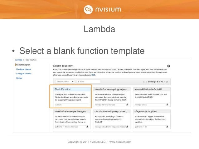 Copyright © 2017 nVisium LLC · www.nvisium.com Lambda • Select a blank function template