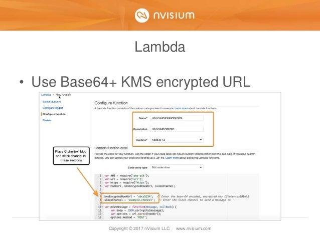 Copyright © 2017 nVisium LLC · www.nvisium.com Lambda • Use Base64+ KMS encrypted URL