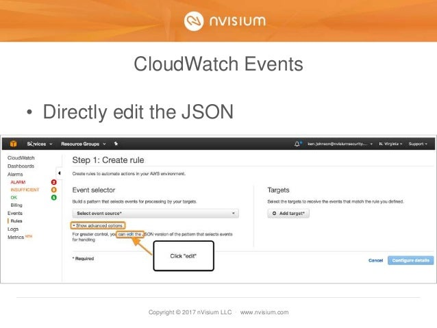 Copyright © 2017 nVisium LLC · www.nvisium.com CloudWatch Events • Directly edit the JSON