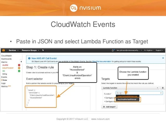 Copyright © 2017 nVisium LLC · www.nvisium.com CloudWatch Events • Paste in JSON and select Lambda Function as Target