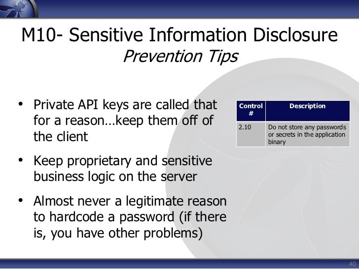 Do not grant files world readable or world writeable permissions</li></li></ul><li>15<br />M2- Weak Server Side Controls<b...