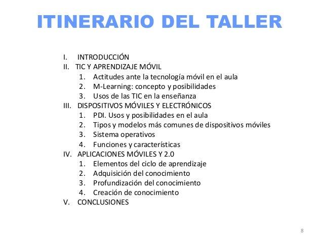 ITINERARIO DEL TALLER  I. INTRODUCCIÓN  II. TIC Y APRENDIZAJE MÓVIL       1. Actitudes ante la tecnología móvil en el aula...
