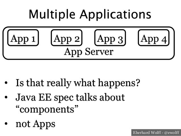 """Eberhard Wolff - @ewolff Multiple Applications • Is that really what happens? • Java EE spec talks about """"components"""" •..."""
