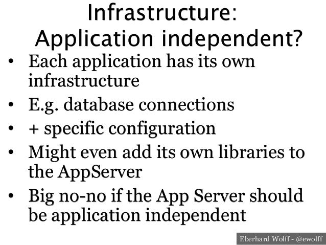Eberhard Wolff - @ewolff Infrastructure: Application independent? • Each application has its own infrastructure • E.g. ...