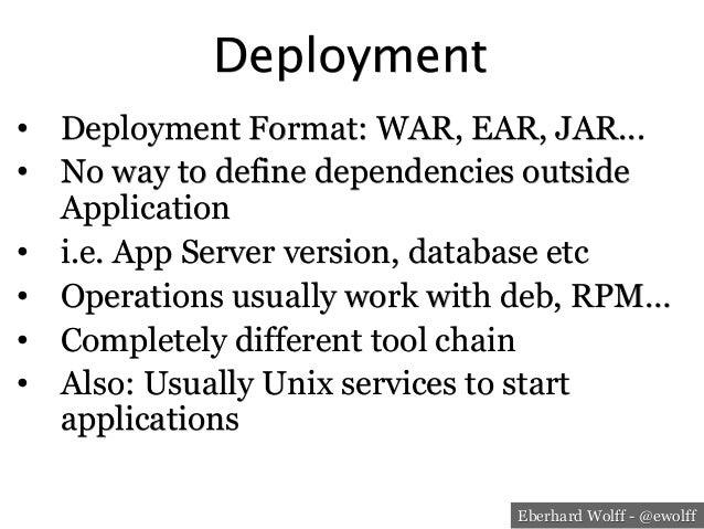 Eberhard Wolff - @ewolff Deployment • Deployment Format: WAR, EAR, JAR... • No way to define dependencies outside Applic...