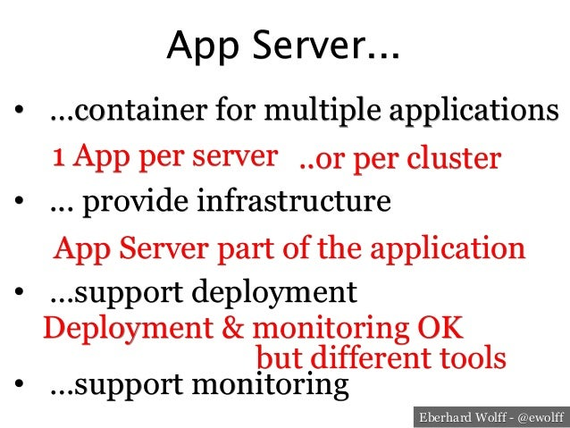 Eberhard Wolff - @ewolff App Server... • …container for multiple applications • ... provide infrastructure • …support d...