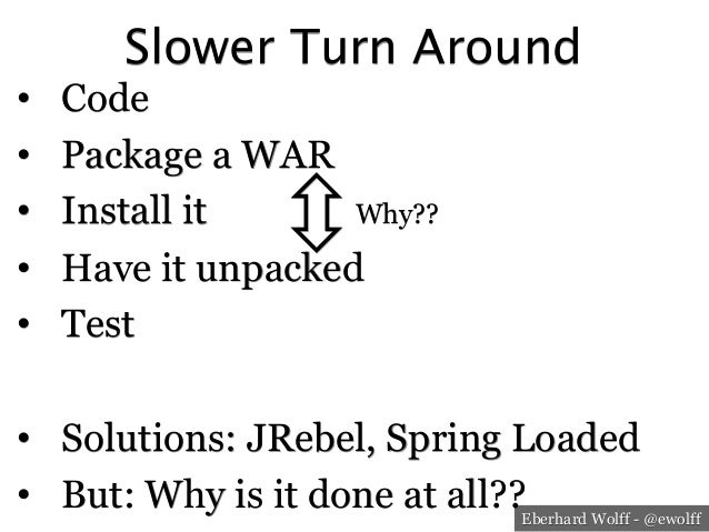 Eberhard Wolff - @ewolff Slower Turn Around • Code • Package a WAR • Install it • Have it unpacked • Test • Solution...