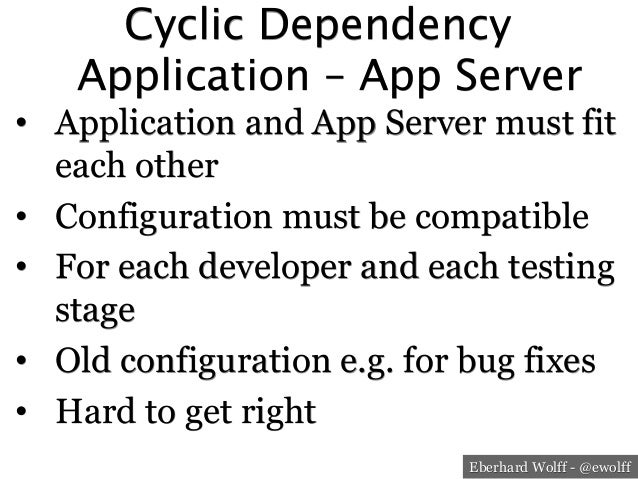 Eberhard Wolff - @ewolff Cyclic Dependency Application – App Server • Application and App Server must fit each other • C...