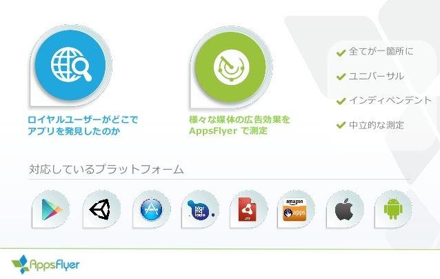 ロイヤルユーザーがどこで アプリを発見したのか 全てが一箇所に ユニバーサル インディペンデント 中立的な測定 様々な媒体の広告効果を AppsFlyer で測定 対応しているプラットフォーム