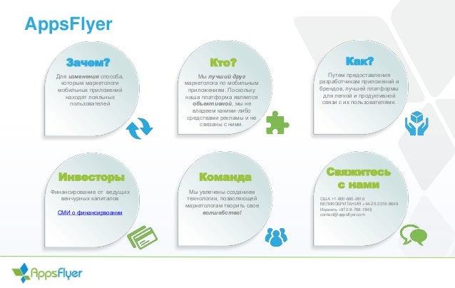AppsFlyer Зачем? Для изменения способа, которым маркетологи мобильных приложений находят лояльных пользователей Кто? Как? ...