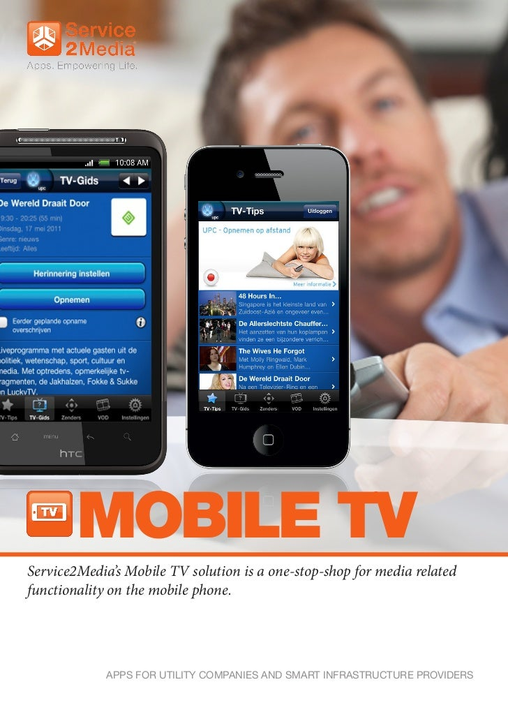 MOBILE TVService2Media's Mobile TV solution is a one-stop-shop for media relatedfunctionality on the mobile phone.        ...