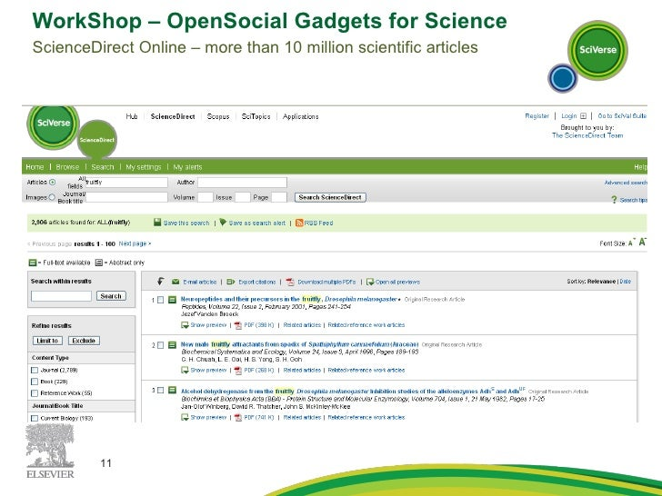 WorkShop – OpenSocial Gadgets for Science ScienceDirect Online – more than 10 million scientific articles