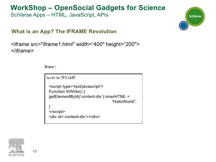 WorkShop – OpenSocial Gadgets for Science SciVerse Apps – HTML, JavaScript, APIs What is an App? The IFRAME Revolution <if...