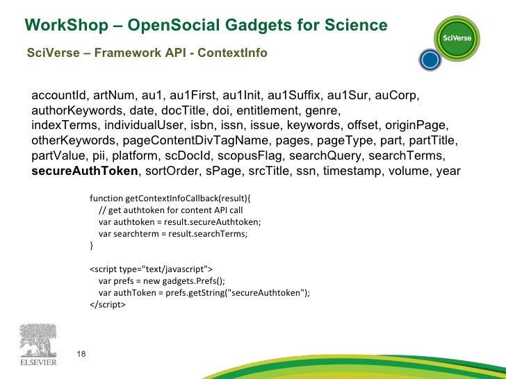 WorkShop – OpenSocial Gadgets for Science  SciVerse – Framework API - ContextInfo accountId, artNum, au1, au1First, au1Ini...