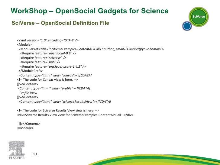 WorkShop – OpenSocial Gadgets for Science  SciVerse – OpenSocial Definition File <?xml version= &quot;1.0&quot; encoding=&...