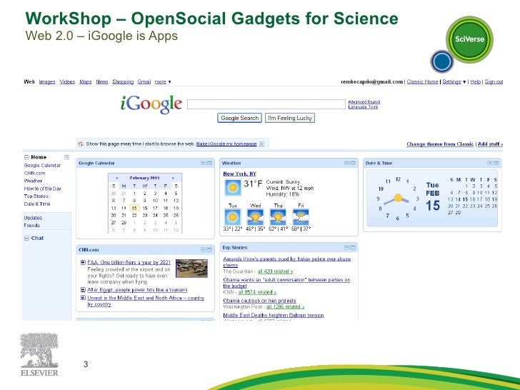 WorkShop – OpenSocial Gadgets for Science  Web 2.0 – iGoogle is Apps