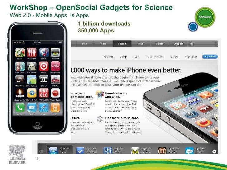 1 billion downloads 350,000 Apps WorkShop – OpenSocial Gadgets for Science Web 2.0 - Mobile Apps  is Apps