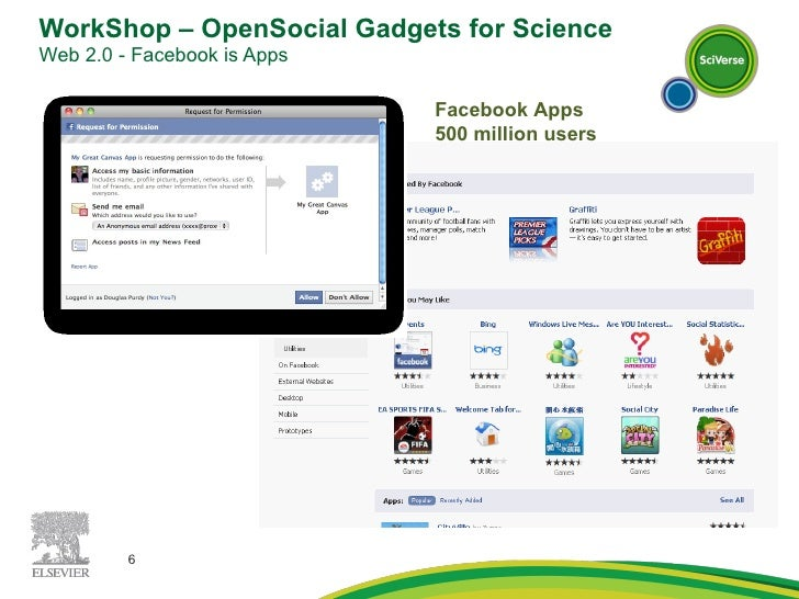 WorkShop – OpenSocial Gadgets for Science Web 2.0 - Facebook is Apps  Facebook Apps 500 million users