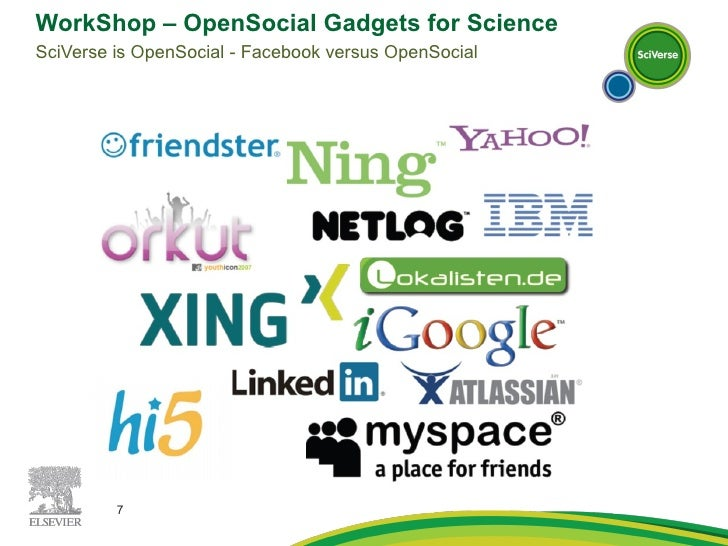 WorkShop – OpenSocial Gadgets for Science SciVerse is OpenSocial - Facebook versus OpenSocial