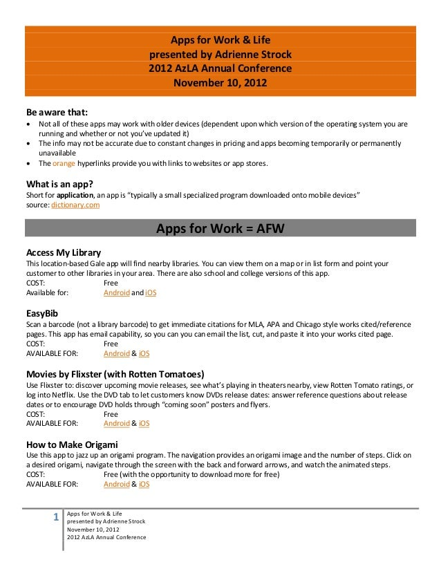 Apps for Work & Life                                           presented by Adrienne Strock                               ...