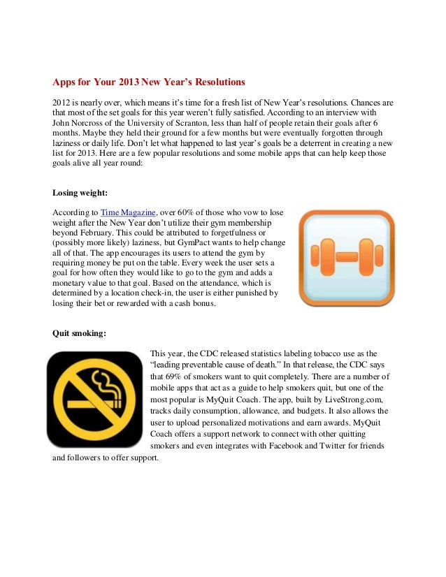Apps for Your 2013 New Year's Resolutions2012 is nearly over, which means it's time for a fresh list of New Year's resolut...