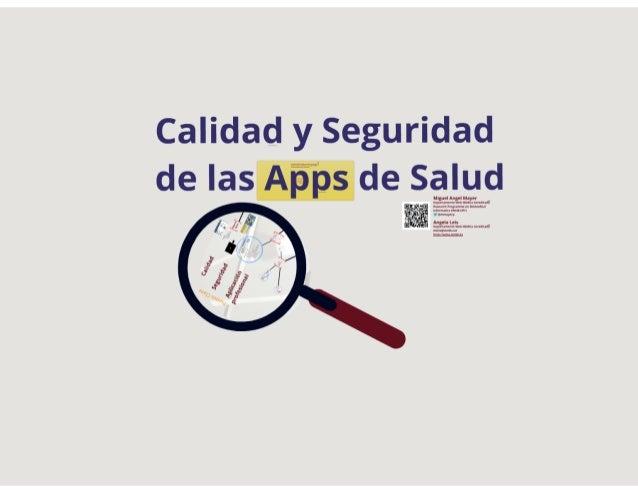 CALIDAD Y SEGURIDAD DE LAS APPS DE SALUD