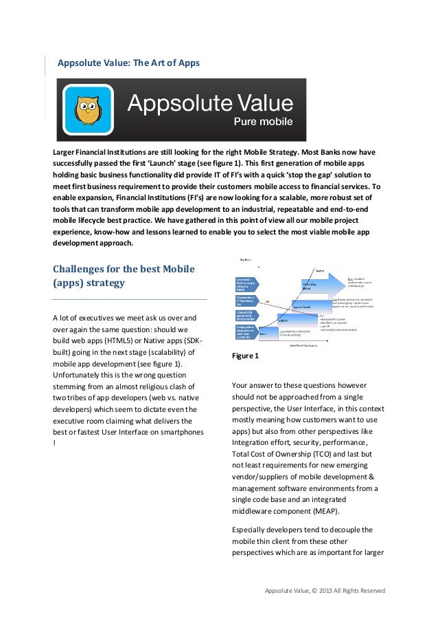 Appsolute Value: The Art of AppsLarger Financial Institutions are still looking for the right Mobile Strategy. Most Banks ...