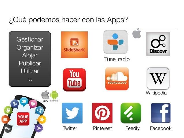 ¿Qué podemos hacer con las Apps? Gestionar Organizar Alojar Publicar Utilizar ... Tunei radio Wikipedia Twitter Pinterest ...