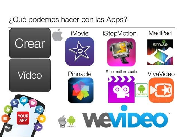 ¿Qué podemos hacer con las Apps? Crear iMovie iStopMotion Pinnacle MadPad VivaVideoVídeo Stop motion studio