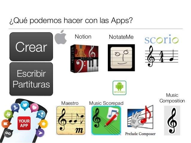 ¿Qué podemos hacer con las Apps? Crear Escribir Partituras Notion NotateMe Music CompositionMaestro Music Scorepad