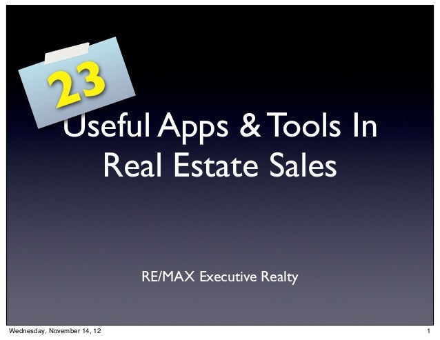 2 3              Useful Apps & Tools In                Real Estate Sales                             RE/MAX Executive Real...
