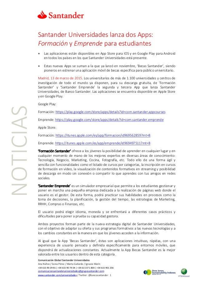 NOTICIAS Santander Universidades lanza dos Apps: Formación y Emprende para estudiantes • Las aplicaciones están disponible...