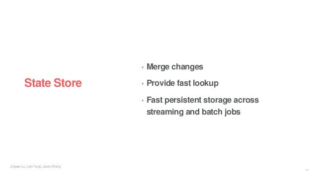 Jingwei Lu, Liyin Tang, Jason Zhang State Store • Merge changes • Provide fast lookup • Fast persistent storage across str...