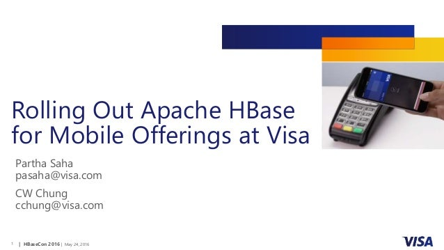 | HBaseCon 2016 | May 24, 20161 Rolling Out Apache HBase for Mobile Offerings at Visa Partha Saha pasaha@visa.com CW Chung...