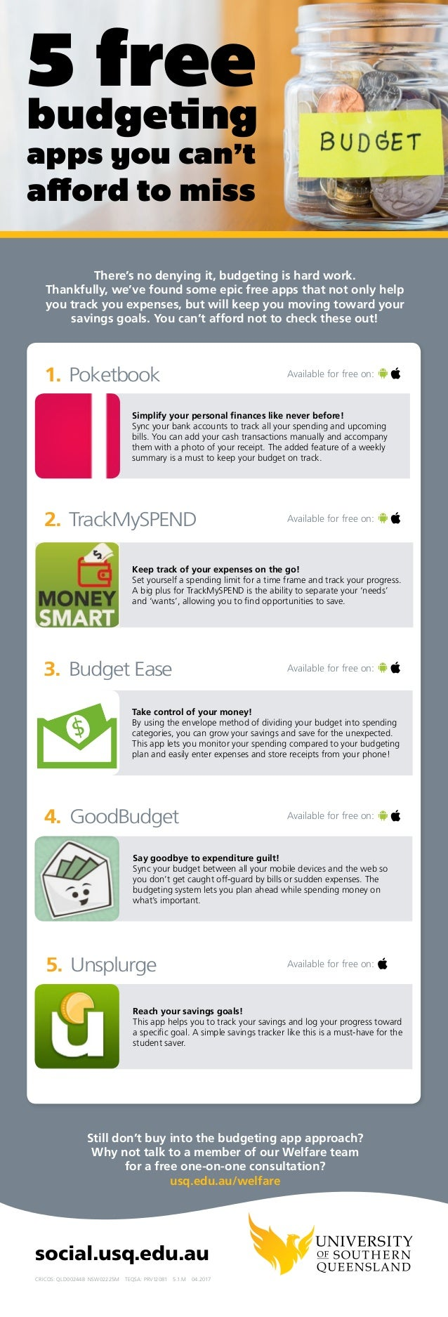 Poketbook TrackMySPEND Budget Ease GoodBudget Unsplurge 1. 2. 3. 4. 5. Simplify your personal finances like never before! ...