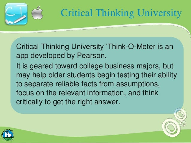 Critical thinking university pearson