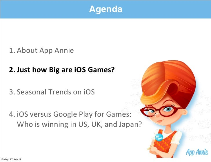 Agenda      1. About App Annie      2. Just how Big are iOS Games?      3. Seasonal Trends on iOS     ...