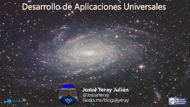 Josué Yeray Julián  @JosueYeray  Geeks.ms/blogs/jyeray