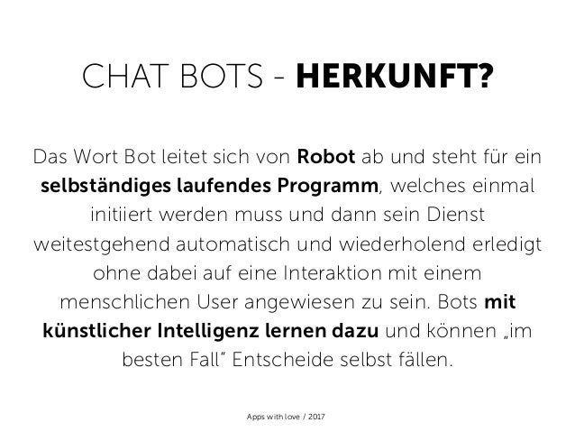 Chat Bots 101 - by Apps with love Slide 3
