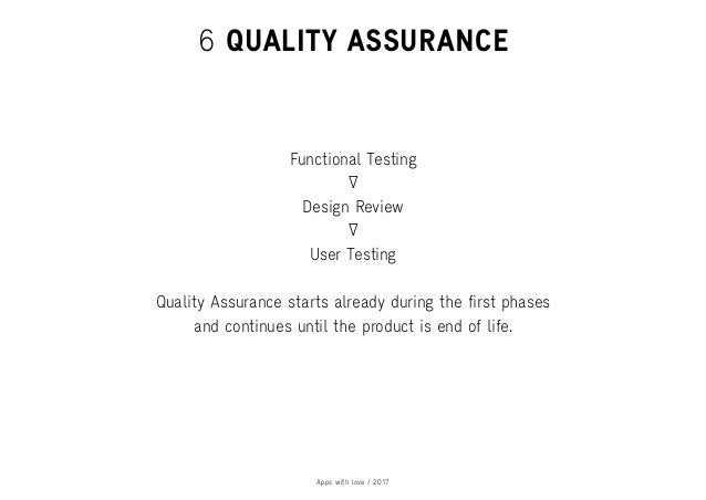 Apps with love / 2017 6 QUALITY ASSURANCE Functional Testing User Testing Design Review Quality Assurance starts already d...