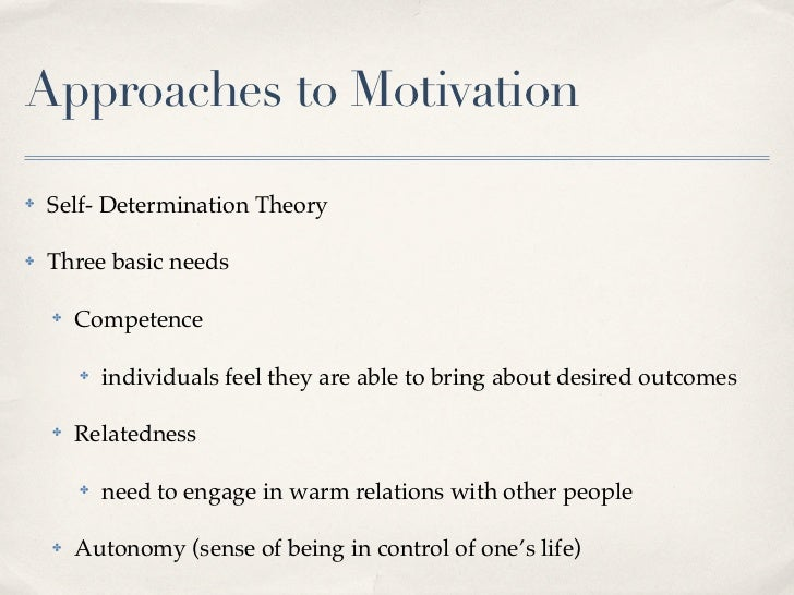 Seven approaches to motivation