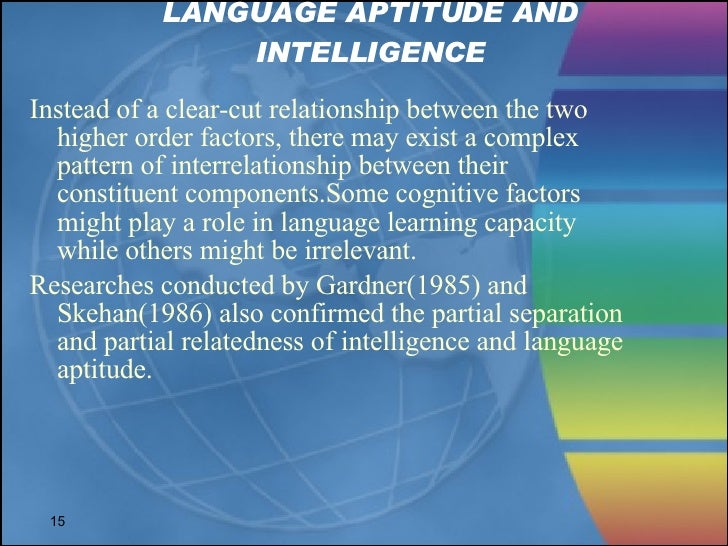 aptitude in sla Teachers college, columbia university working papers in tesol & applied linguistics, vol 4, special issue aptitude and intelligence in sla 1 on the relationship between aptitude and intelligence in.