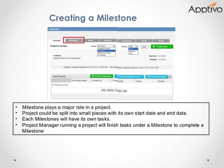 Creating a Milestone  <ul><li>Milestone plays a major role in a project. </li></ul><ul><li>Project could be split into sma...
