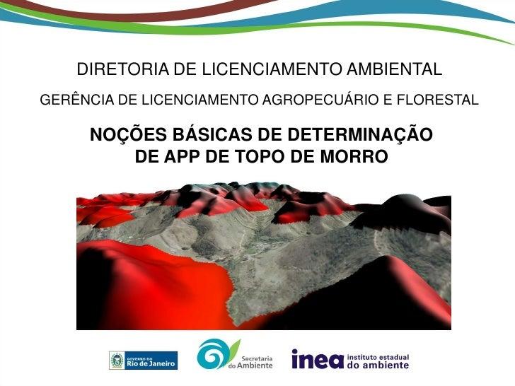 DIRETORIA DE LICENCIAMENTO AMBIENTALGERÊNCIA DE LICENCIAMENTO AGROPECUÁRIO E FLORESTAL     NOÇÕES BÁSICAS DE DETERMINAÇÃO ...